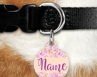 Pink Peach Floral Pet Tag - Flower - Purple - Feminine Pet ID - Name Tag - Girl Tag - Cat ID - Cat - Two Sided Tag - Name Tag - Personalized