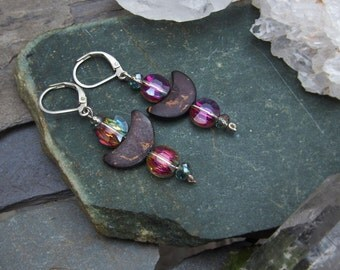 Crescent Moon Rainbow Iridescent Earrings