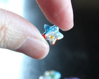 20 millefiori glass beads, 10 mm x 10 mm, hole 1 mm, flat star beads, mixed colors and designs