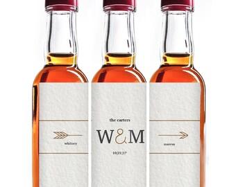 Custom Liquor Mini Bottle Favors - Personalized Labels - Wedding Favors - Mini Liquor Labels - 10 to a set