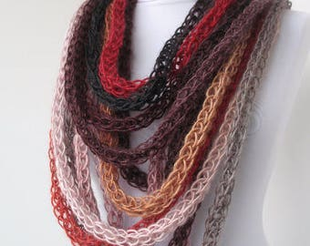 Scarf necklace-loop scarf-infinity scarf-neck warmer-hand knitted-in burgundy,gray,brown,beige,gold,red,black..   E257