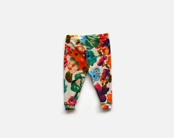 Baby Leggings / Tropical Floral / Toddler Leggings / Child Leggings / Infant Pants / Newborn Cuffed Leggings