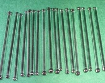 Vintage Clear Glass Rods /  Stir Sticks - 18 available