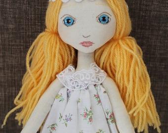 DIY cloth doll kit, blonde, easy to make, doll Maï