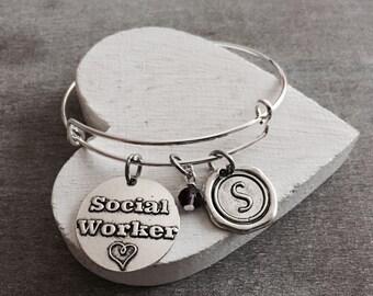 MSW, LSW, Master of Social Work, Masters degree, Social Worker, Professional Jewelry, Silver Jewelry, Graduation, Grad, Silver Bracelet