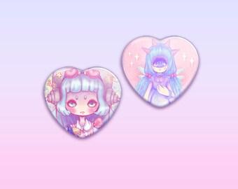 """Monster Girls 2.25"""" Heart Button / Pin / Badge"""
