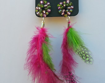 Pink and green feather drop earrings
