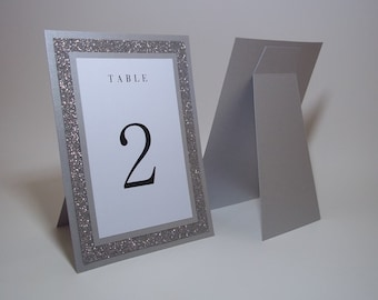 "Silver Table Numbers - Silver Glitter and WhiteTable Numbers - 5""x7"" Free-standing - Wedding, Party, Dinner"