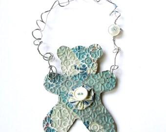 Blue Teddy Bear Ornament - Blue Baby Ornament - Baby Boy - Nursery Decoration - Recycled Ornament - Eco Friendly Ornament