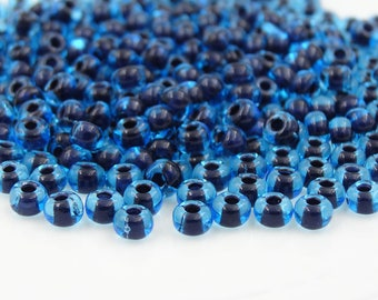 Czech Glass 6/0 Aqua Jet Lined Seed Bead   20 Grams