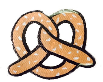 Pretzel hand painted brooch jewellery canvas sewn