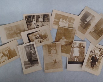 Vintage RPPC Photograph LOT of 12, Sepia Historical Photographs, Early 20th Century, Dawkins, Parkersburg, WV, Scrapbooking