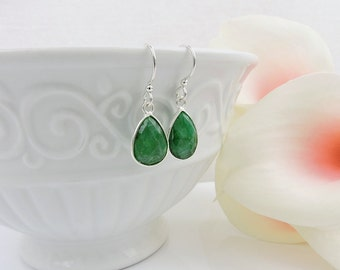 FREE US Ship Sterling Silver Emerald Teardrop Earrings Silver Emerald Earrings Real Emerald Earrings May Birthstone May Birthday