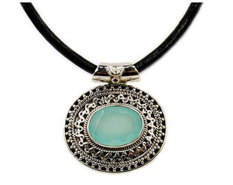 Mystical Medallion Aqua Chalcedony & .925 Sterling Silver Pendant Leather Cord Necklace AF351 The Silver Plaza