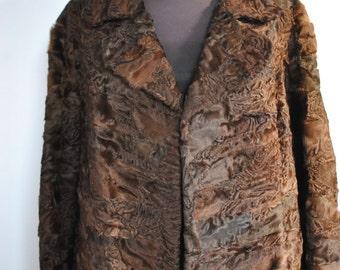 Vintage ASTRAKHAN FUR COAT , women's fur coat ..........(317)