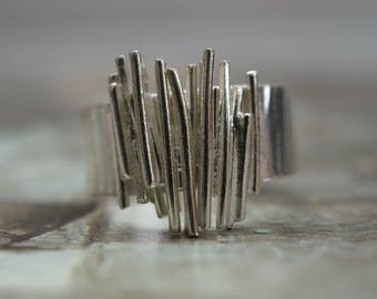 Contemporary Silver Ring with Random Sticks, Organic Ring, Statement Ring.