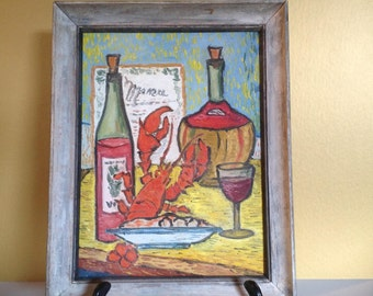 Still Life with Lobster Framed Oil Painting