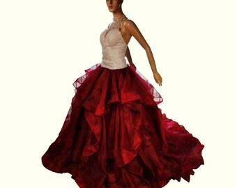 Maroon Red wedding skirt, wedding separates