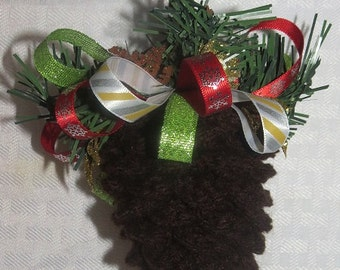 Pine Cone Crocheted Ornaments Trio Brown, Small, Medium, Large,  Ribbons #1