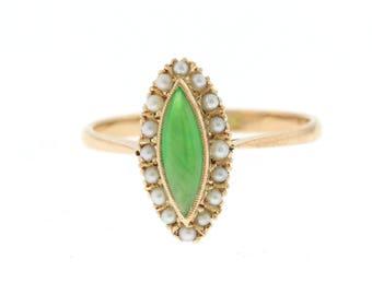 Antique Jade Ring, Edwardian Jade & Pearl Ring, 18 Yellow Gold Jade Ring