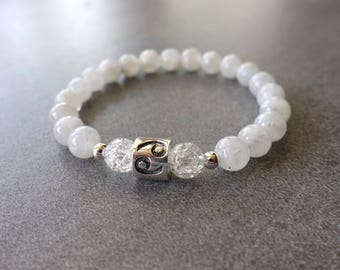 Cancer Bracelet, Cancer Zodiac Bracelet, Moonstone, Quartz Crystal, Cancer Jewelry, Cancer Jewellery, Sterling Silver Cancer Bead