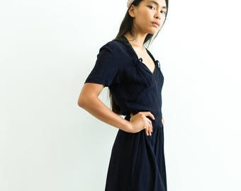 vintage 1940s midnight maraud crepe dress | S/M