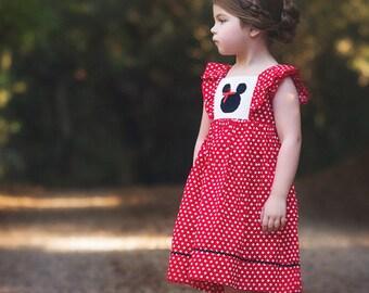 Mouse Smocked Flutter Sleeve Dress