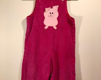 Vintage Pig Overalls (18-24 months)