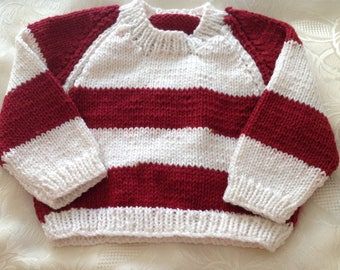 Red & White Striped Baby boys Jumper
