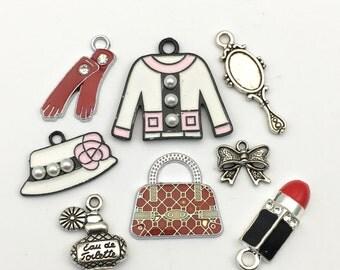 8 fashion girl enamel charms ,12mm to 23mm# ENS A 286