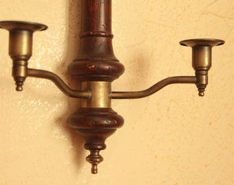 Vintage wood candle holder / wall sconce with ornate brass finial
