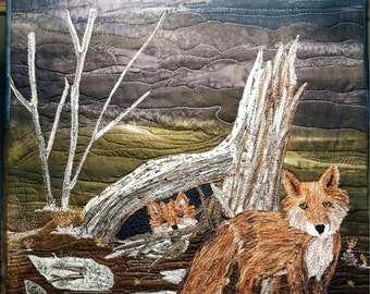 Fox and baby Landscape quilt, Home Decor, mini quilt,  Nursery Decor, Wall hanging, Fiber Art, Fox art, Thread Painting