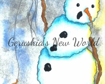 Simply Floating Through The Wait - Salted Watercolor, Print, Snowman, Whimsical