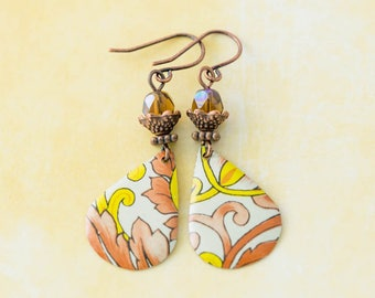Yellow and Peach Antique Copper Vintage Tin Teardrop Earrings with Caramel Brown Faceted Glass Beads, Vintage Tin Jewelry