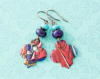 Colorful Moroccan Ogee Vintage Tin Earrings with Turquoise and Dark Purple Beads and Antique Copper