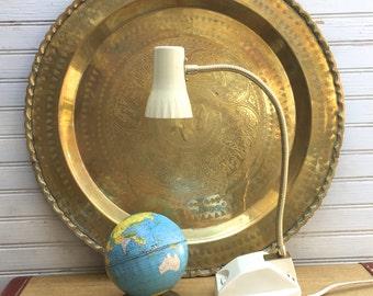 Mid Century Beige Metal Gooseneck Desk Lamp