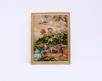 Vintage French Petit Point Pastoral scene Gold framed needlepoint Picture Hand stitched -ready to hang