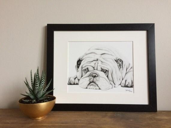 English Bulldog Charcoal Drawing GICLEE PRINT - Pet Portrait - Dog Portrait - Bulldog Lover - Black and White Art - Dog Lover