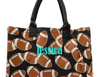Personalized Football Tote Bag Monogrammed Beach Black Brown Oversized Canvas Large Market Diaper Baby Shopping Embroidered Monogram