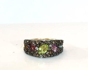 Peridot Blue Topaz Gold Ring Amethyst Pink Tourmaline Citrine Ring 10K Gold Smoky Quartz Colorful Gemstone Ring Size 7 Estate Jewelry