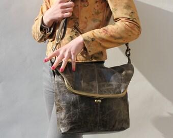 Dublin, Large Clip Bag, Charcoal Leather bag, Foldover Clip Bag