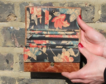 Madamzel Multi-Compartment Wallet in Tan Scrunchy and Floral Leather