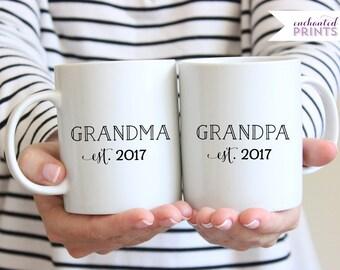 Personalized Grandma Grandpa Mugs- Grandparent Mugs, New Grandparent Gift, Pregnancy Reveal Mugs, His & Hers Mugs, Baby Announcement Mugs