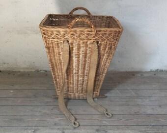 French Harvest Basket, Fruit Picking Basket, Large Wicker Basket, French Garden Decor, French Cottage, Rustic French Farm, Apple Picking