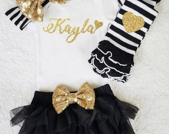 Personalized Name Glitter Customize Coming Home outfit gold glitter baby bodysuit leg warmer bloomer set gold and black baby girl set