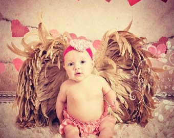 Heart Print Rosette Heart on Hot Pink  Lace Headband.. Newborn, Baby, Girls Photo Prop Bow, Baby Shower, First Valentine's Day
