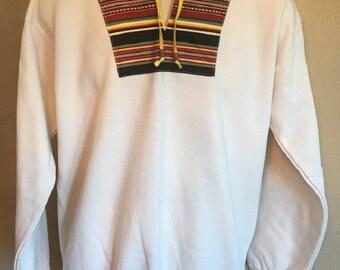 Southwest Sweatshirt Stripe Applique Yoke Collar Adult Medium Natural Off White Hanes Brand