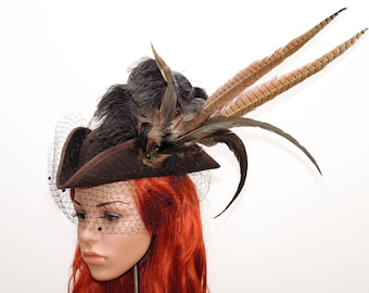 Steampunk has / / Fascinator / / hat with feather headdress / / women's hat with veil and pheasant feathers / / wig Hat Gothic Cotoure