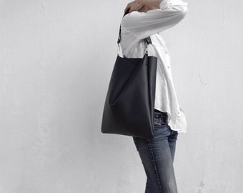 Navy Leather Shoulder Bag/Large Leather Slouch Bag/Big Leather Hobo Bag/ Hobo Bag/Ready to ship