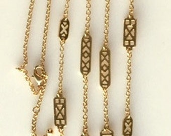 Long Gold Tone Brass Chain Necklace With Abstract Spacers